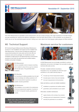 H&H Measurement newsletter on the new M3 Technical Support services